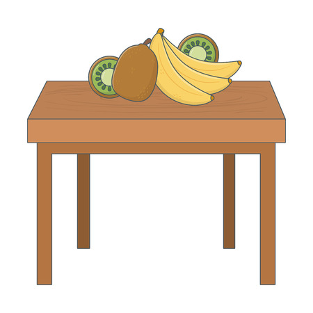 delicious healthy meal fruits mix over wooden table cartoon vector illustration graphic design Stock Illustratie