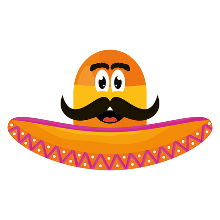 mexican hat with mustache emoji character vector illustration design Illustration