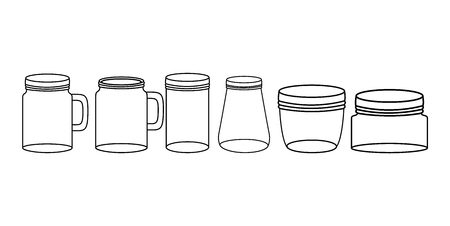 set of mason jars monochrome vector illustration design
