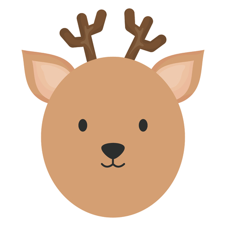cute reindeer head childish character vector illustration design 向量圖像