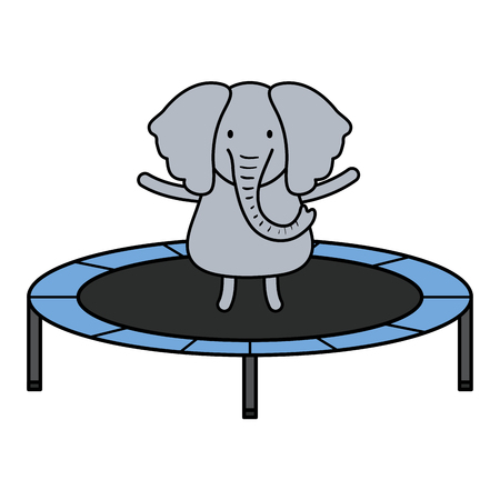 cute elephant in elastic trampoline character vector illustration design