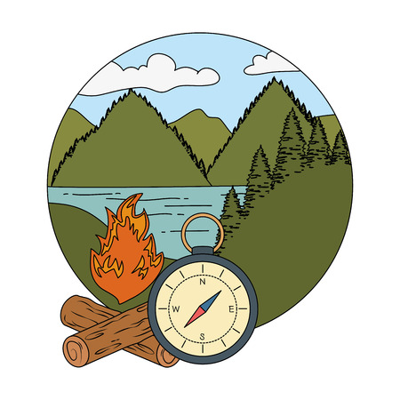 compass guide with campfire vector illustration design
