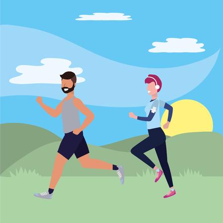 fitness exercise cartoon 向量圖像