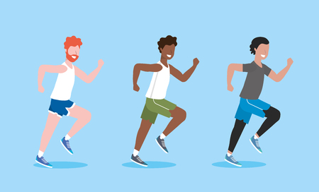 Establecer ejercicio de entrenamiento de hombres y correr ilustración de vector de actividad