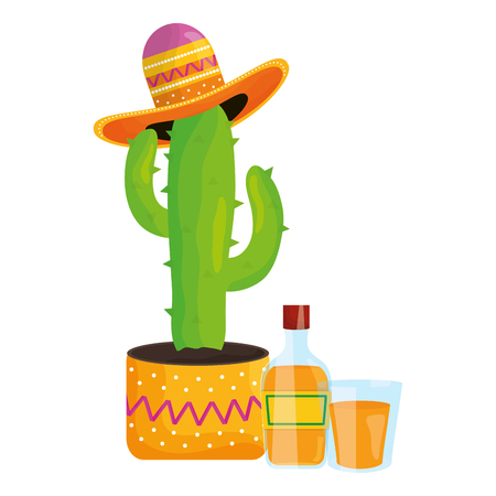 cactus plant with mexican hat and tequila vector illustration design