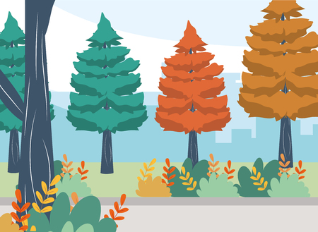 outdoor concept trees with bushes cartoon vector illustration graphic design