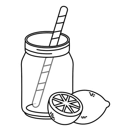 delicious tasty fruit grapefruit with mason jar bottle cartoon vector illustration graphic design