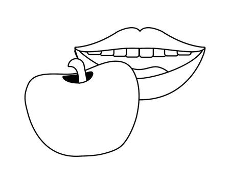sexy lips eating apple cartoon vector illustration graphic design Stock Illustratie