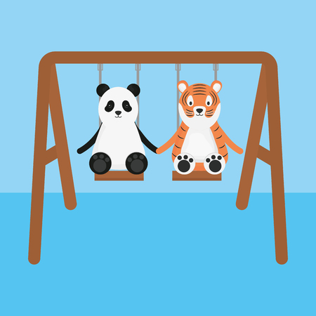 cute tiger and panda in swing childish characters vector illustration design Illustration