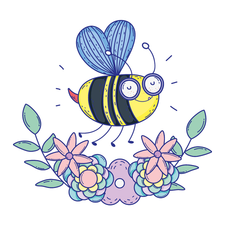 beautiful bee flying with floral crown vector illustration design