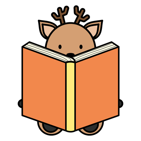 cute reindeer reading book character vector illustration design