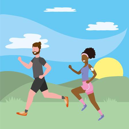 fitness exercise cartoon  イラスト・ベクター素材