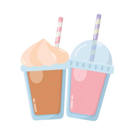 delicious tasty drink milkshakes cartoon vector illustration graphic design Ilustração
