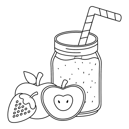 delicious tasty fresh fruits juice mason jar cartoon vector illustration graphic design