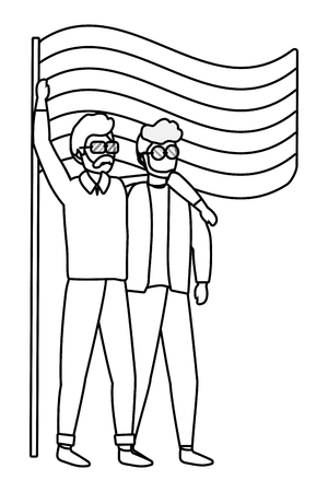 homosexual proud gay men couple at protest holding lgtbi flag cartoon vector illustration graphic design