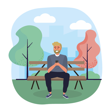 man seating in the chair with smartphone technology vector illustration