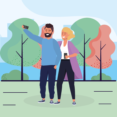 woman and man couple with smartphone together vector illustration Stock Illustratie