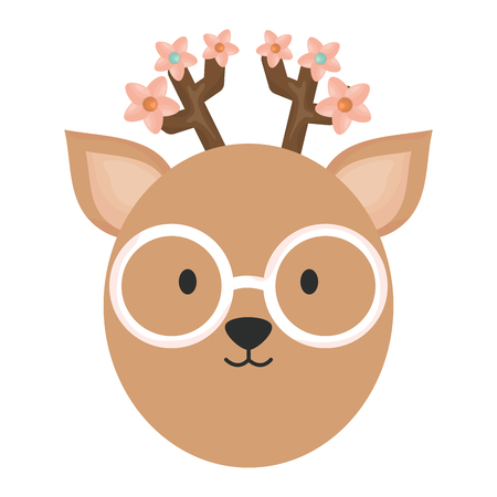 cute female reindeer childish character vector illustration design 向量圖像