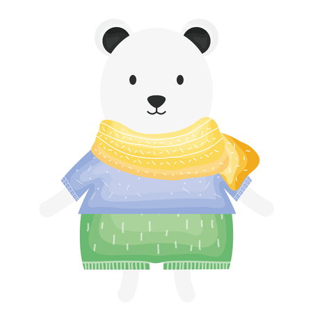 cute polar bear childish character vector illustration design
