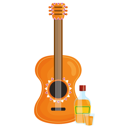 guitar instrument with tequila bottle vector illustration design