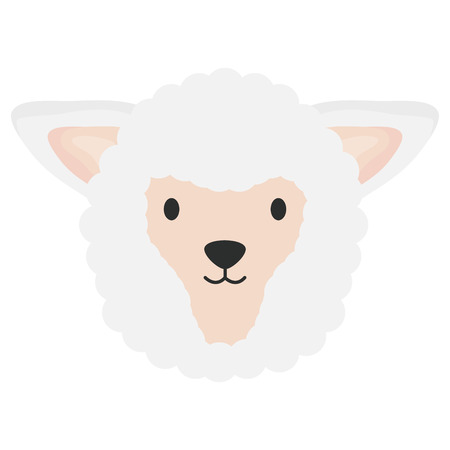 cute sheep head childish character vector illustration design
