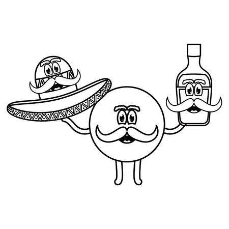 mexican emoji with hat and tequila bottle vector illustration design