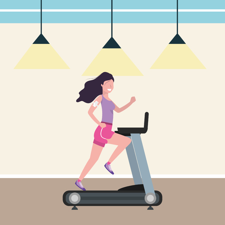 fitness exercise woman running over treadmill workout healthy fit lifestyle gym scene cartoon vector illustration graphic design Stock Illustratie