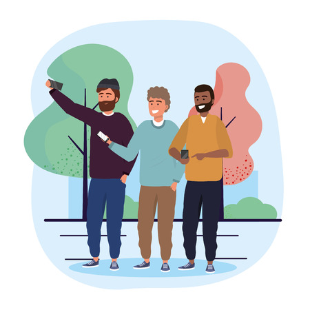 funny men friends with smartphone selfie vector illustration