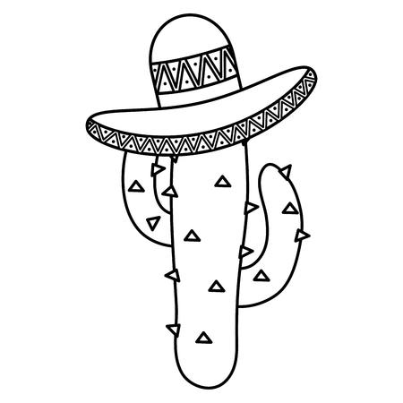 Planta de cactus con sombrero mexicano, diseño de ilustraciones vectoriales Ilustración de vector
