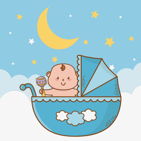 cute baby shower little baby dreams at night with elements cartoon vector illustration graphic design