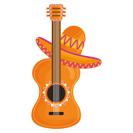 guitar with mexican hat vector illustration design Vectores