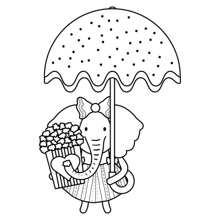 cute female elephant with umbrella and pop corn vector illustration design