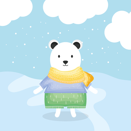 cute bear polar with clothes character