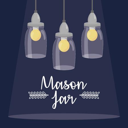 mason jars with bulbs hanging vector illustration design
