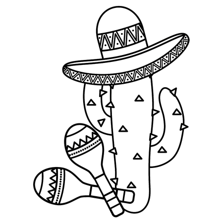 cactus plant with mexican hat and maracas