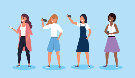set women friends with hairstyle and smartphone technology vector illustration