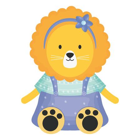 cute female lioness childish character vector illustration design