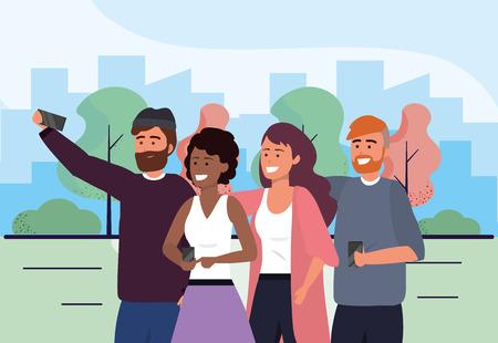 men and women friends with smartphone selfie vector illustration