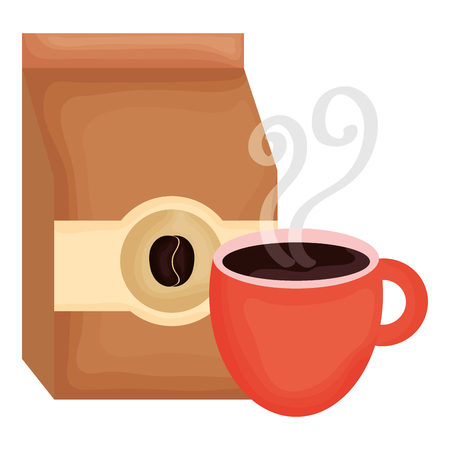 coffee bag product with cup vector illustration design