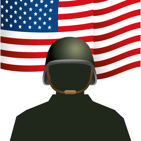 united state flag with soldier and helmet icon cartoon vector illustration graphic design 向量圖像