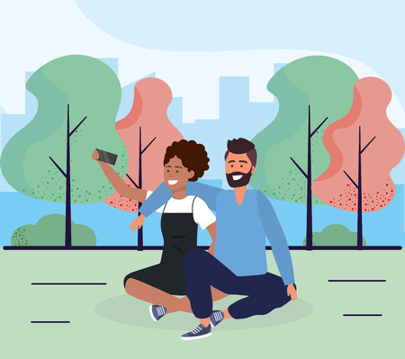 woman and man couple seating with smartphone vector illustration Stock Illustratie