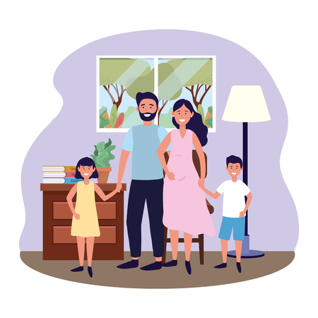 couple with children avatar cartoon character in the living room vector illustration graphic design