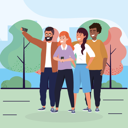 women and men friends with smartphone and trees vector illustration Stock Illustratie