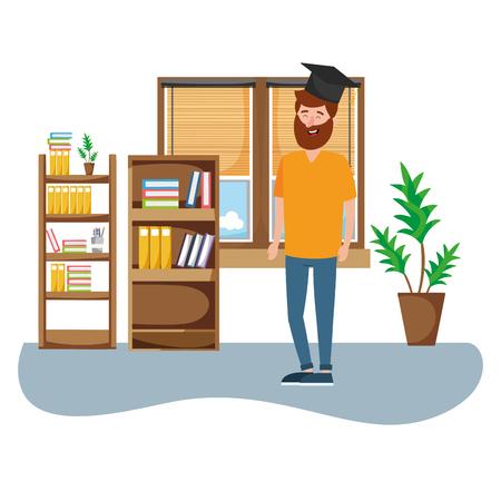 online education man wearing graduation hat inside office cartoon vector illustration graphic design