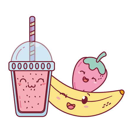 delicious tasty sweet fruits with milkshake cartoon vector illustration graphic design