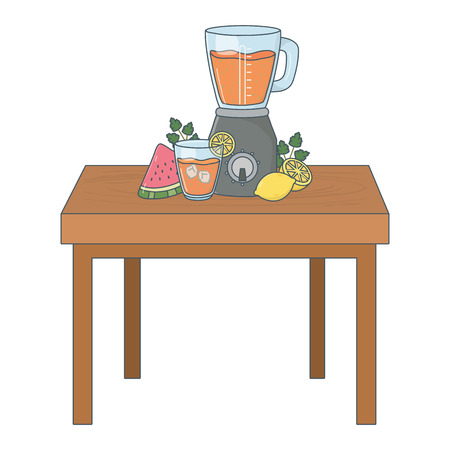 delicious healthy fruits smoothie inside blender over wooden table cartoon vector illustration graphic design Stock Illustratie