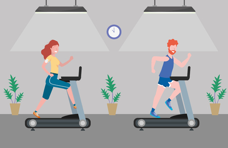 fitness exercise couple running over treadmill workout healthy fit lifestyle gym scene cartoon vector illustration graphic design Ilustração