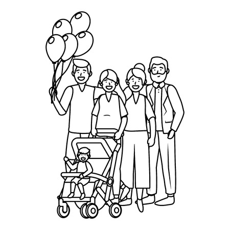 family avatar cartoon character baby carriage with balloons vector illustration graphic design Illustration