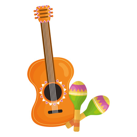 guitar and maracas instruments vector illustration design