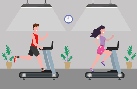 fitness exercise couple running over treadmill workout healthy fit lifestyle gym scene cartoon vector illustration graphic design Stock Illustratie